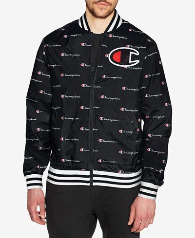 Champion Men's Logo-Print Satin Baseball Jacket - Coats & Jackets ...