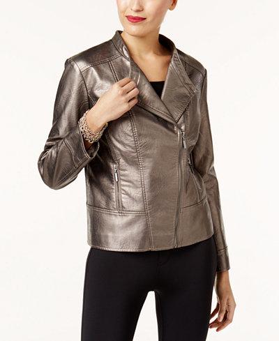 Alfani Petite Metallic Faux-Leather Moto Jacket, Created for Macy's