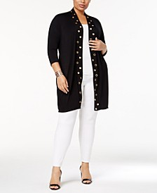 Plus Size Grommet-Trim Duster Cardigan