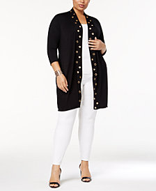 Belldini Plus Size Grommet-Trim Duster Cardigan