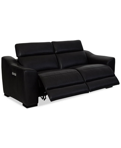 Anniston 2-Pc. Leather Sectional with 2 Power Recliners and USB Power Outlet, Created For Macy's