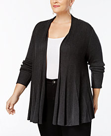 I.N.C. Plus Size Ribbed-Knit Swing Cardigan, Created for Macy's