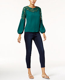 Thalia Sodi Lace-Trim Illusion Top & Thalia Sodi Jeggings, Created for Macy's