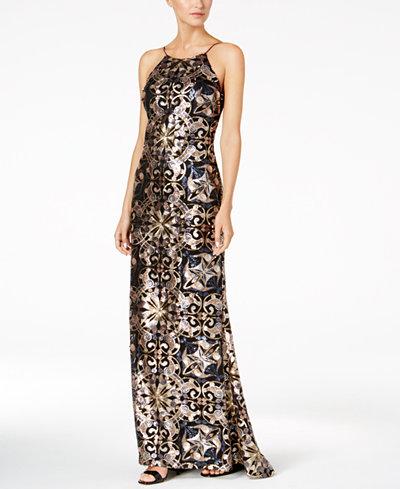 Calvin Klein Sequined Slip Gown