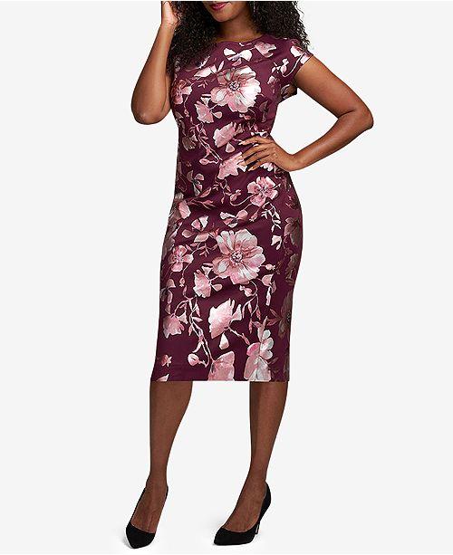 ECI Plus Size Printed Bodycon Midi Dress