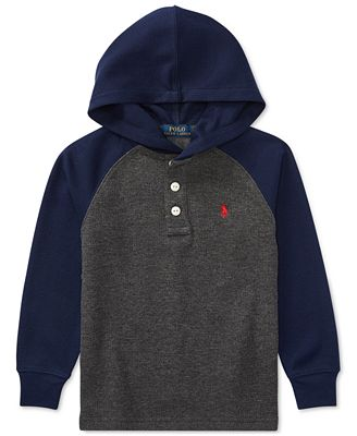 Ralph Lauren Colorblocked Hooded Long-Sleeve T-Shirt, Toddler Boys ...