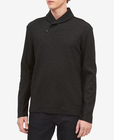 Calvin Klein Men's Shawl Neck Jacquard Sweater
