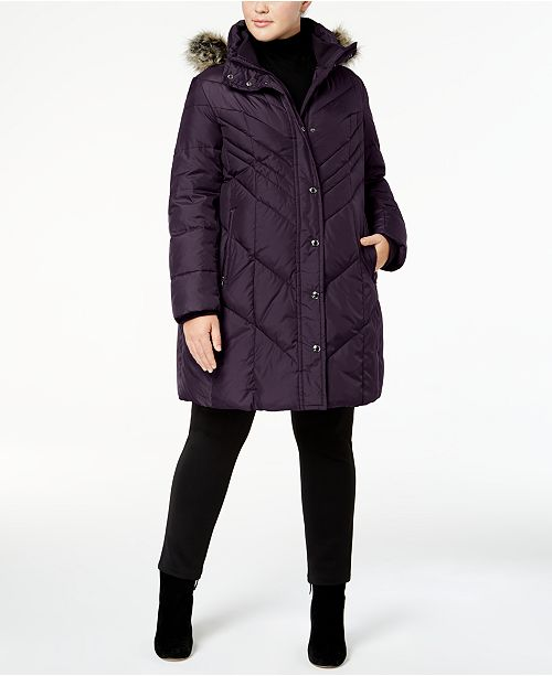 London Fog Plus Size Faux-Fur-Trim Down Puffer Coat