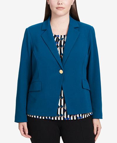 Calvin Klein Plus Size Scuba One-Button Blazer