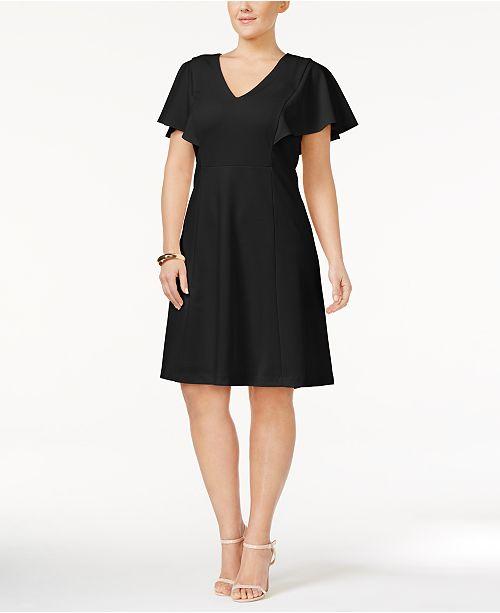 5db1c5ee5f1 Calvin Klein Plus Size Flutter-Sleeve A-Line Dress   Reviews ...