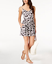 kate spade new york Aliso Beach Floral-Print Flared Romper Cover-Up
