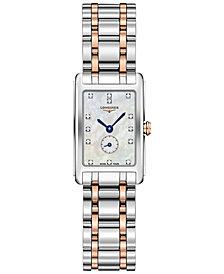 Longines Women's Swiss DolceVita Diamond-Accent 18k Rose Gold & Stainless Steel Bracelet Watch 21x32mm