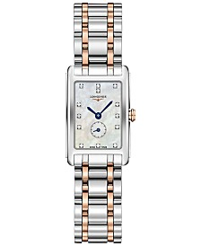 Longines Women's Swiss DolceVita Diamond-Accent 18k Rose Gold & Stainless Steel Bracelet Watch 21x32mm