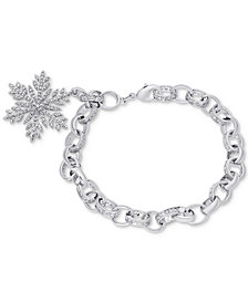 Diamond Accent Snowflake Charm Bracelet in Silver-Plate