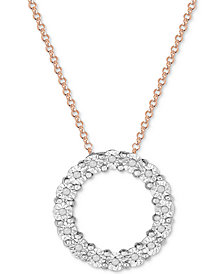 Diamond Circle Miracle Plate Pendant Necklace (1/10 ct. t.w.) in Sterling Silver