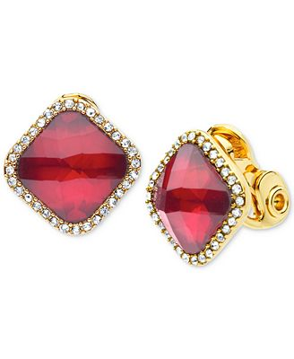 Anne Klein Gold Tone Pave Colored Stone Clip On Stud Earrings