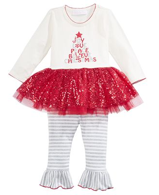 Bonnie Baby 2-Pc. Holiday Tutu Tunic & Leggings Set, Baby Girls