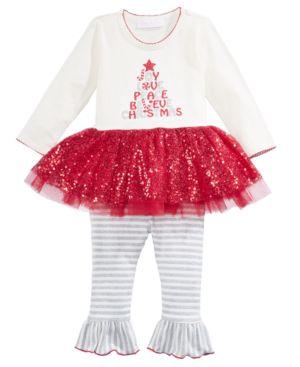 Bonnie Baby 2-Pc. Holiday Tutu Tunic & Leggings Set, Baby Girls thumbnail