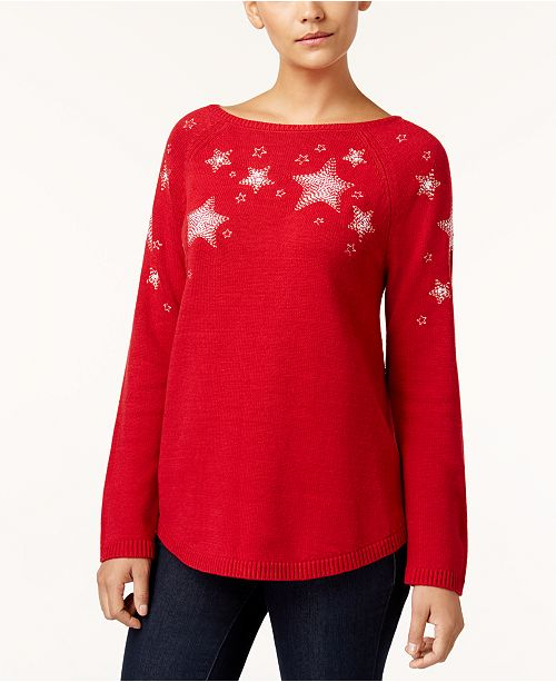 Style & Co Petite Embroidered Star-Pattern Sweater, Created for Macy's
