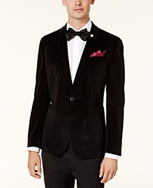 Men's Slim-Fit Black Velvet Houndstooth Dinner Jacket