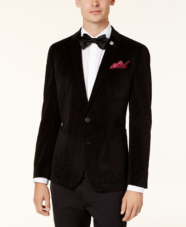 Nick Graham Men's Slim-Fit Black Velvet Houndstooth Dinner Jacket