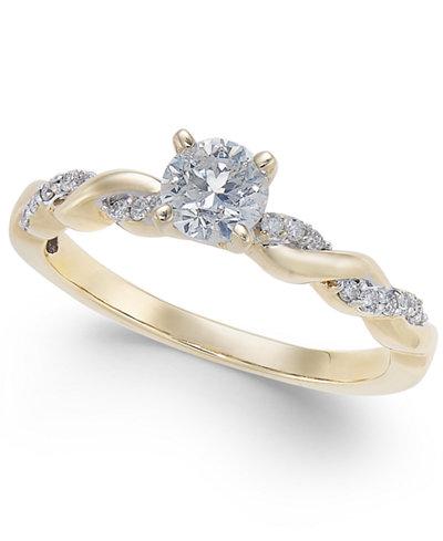 Diamond Twist Engagement Ring 1 2 Ct Tw In 14k Gold