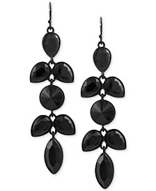 GUESS Black-Tone Jet Stone Drop Earrings