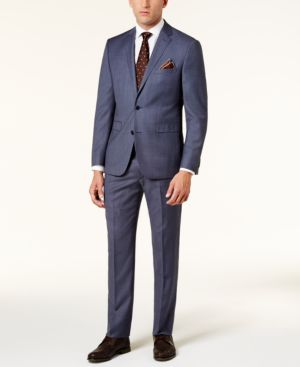 Vince Camuto Men's Slim-Fit Dusty Blue Birdseye Suit thumbnail