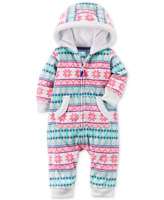 Carter's Hooded Fair Isle Coverall, Baby Girls - All Baby - Kids ...