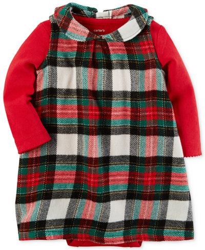 Carter's 2-Pc. Pointelle Bodysuit & Plaid Dress Set, Baby Girls