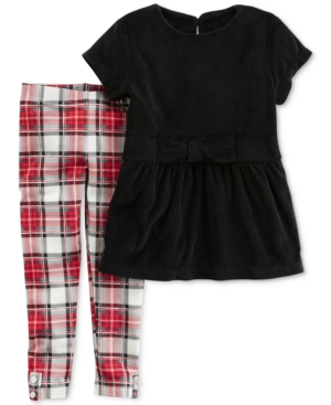 Carters 2Pc Velour Top  Plaid Leggings Set Baby Girls (024 months)