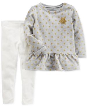 Carters 2Pc DotPrint Owl Top  Leggings Set Baby Girls (024 months)