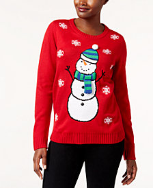 Karen Scott Petite Snowman Sweater, Created for Macy's
