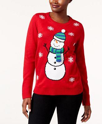 Karen Scott Petite Snowman Sweater Created For Macys Sweaters