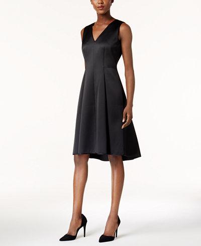 Anne Klein Satin Fit & Flare Dress