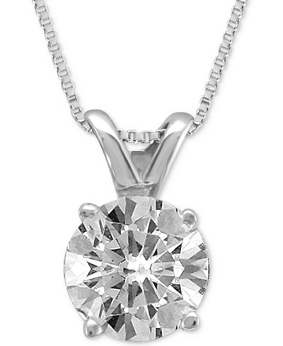 Diamond Solitaire Pendant Necklace (1/2 ct. t.w.) in 14K Gold or White Gold