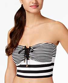 Lauren Ralph Lauren Striped Strapless Lace-Up Bikini Top