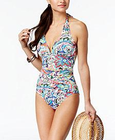 Lauren Ralph Lauren Cabana Paisley Tummy Control Printed Halter One-Piece Swimsuit