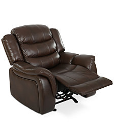 Olyena Faux Leather Glider Recliner, Quick Ship