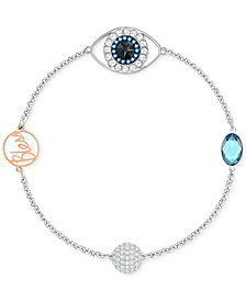 "Swarovski Remix Collection Two-Tone Pavé Evil Eye ""Bless"" Link Bracelet"