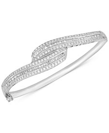 Wrapped in Love™ Diamond Swirl Bangle Bracelet (2 ct. t.w.) in Sterling Silver, Created for Macy's