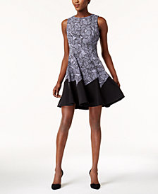 Anne Klein Floral-Print Fit & Flare Dress