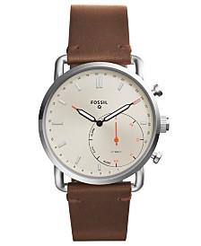 Fossil Q Men's Commuter Dark Brown Leather Strap Hybrid Smart Watch 42mm