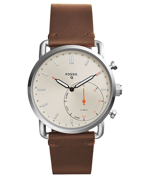 5945157fcf ... Fossil Q Men s Commuter Dark Brown Leather Strap Hybrid Smart Watch ...