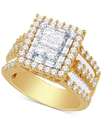 Diamond Ring 3 ct t w in 14k Gold or White Gold Rings
