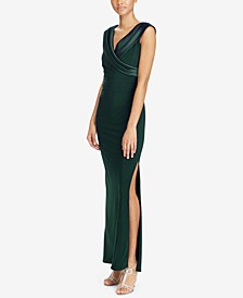 Sleeveless Portrait-Collar Draped Gown