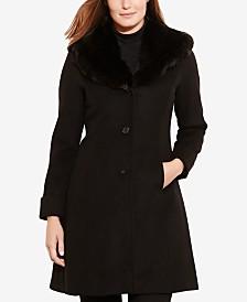 Lauren Ralph Lauren Petite Faux-Fur-Collar Walker Coat, Created For Macy's