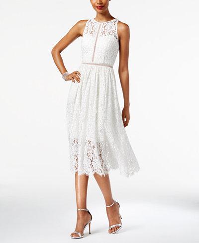 Adrianna Papell Illusion Lace Midi Dress