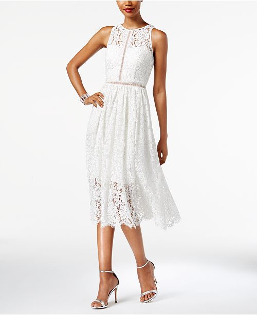 Adrianna Papell Illusion Lace Midi Dress