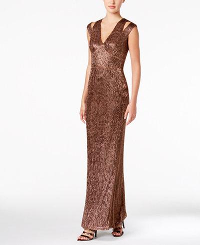 Calvin Klein Split-Shoulder Metallic Gown